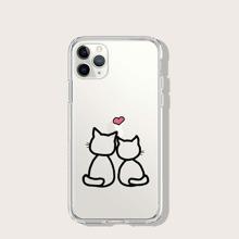 Cat Print Transparent iPhone Case