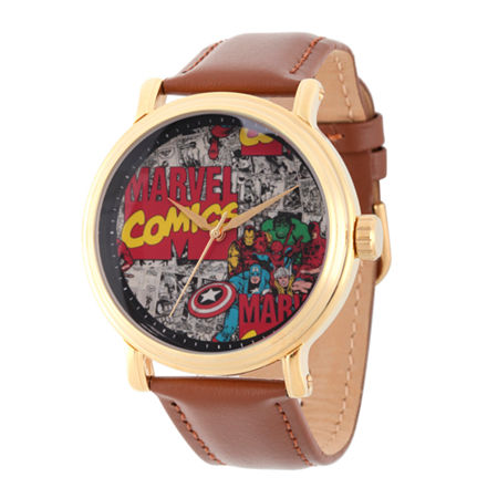 Marvel Comics Marvel Mens Brown Leather Strap Watch-Wma000049, One Size , No Color Family
