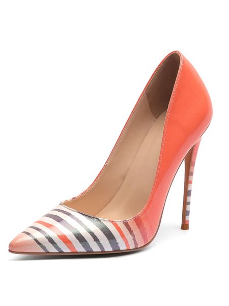 Milanoo Women High Heels Pointed Toe Stiletto Heel Oragnge Red Stripes High Heel Shoes