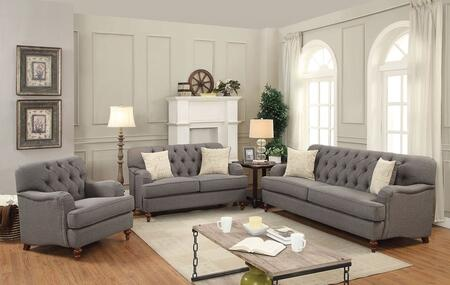 Alianza Collection 53690SET 2 PC Living Room Set with Sofa + Loveseat + Chair in Dark Grey