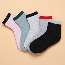 5pairs Contrast Trim Socks