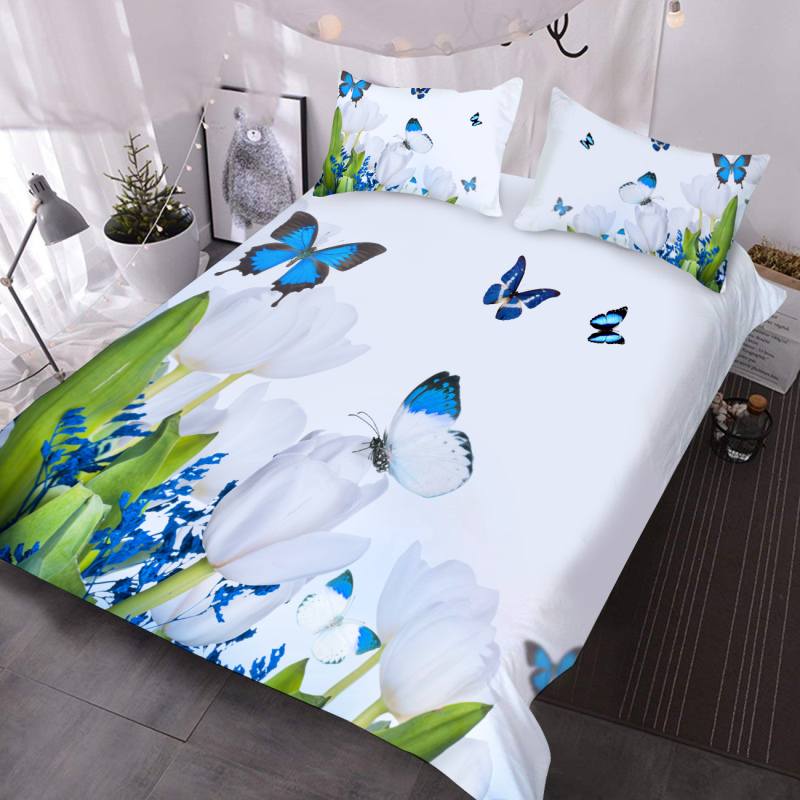 White Tulip and Blue Butterflies 3D Pastoral Comforter Lightweight 3-Piece Comforter Set with 2 Pillowcases