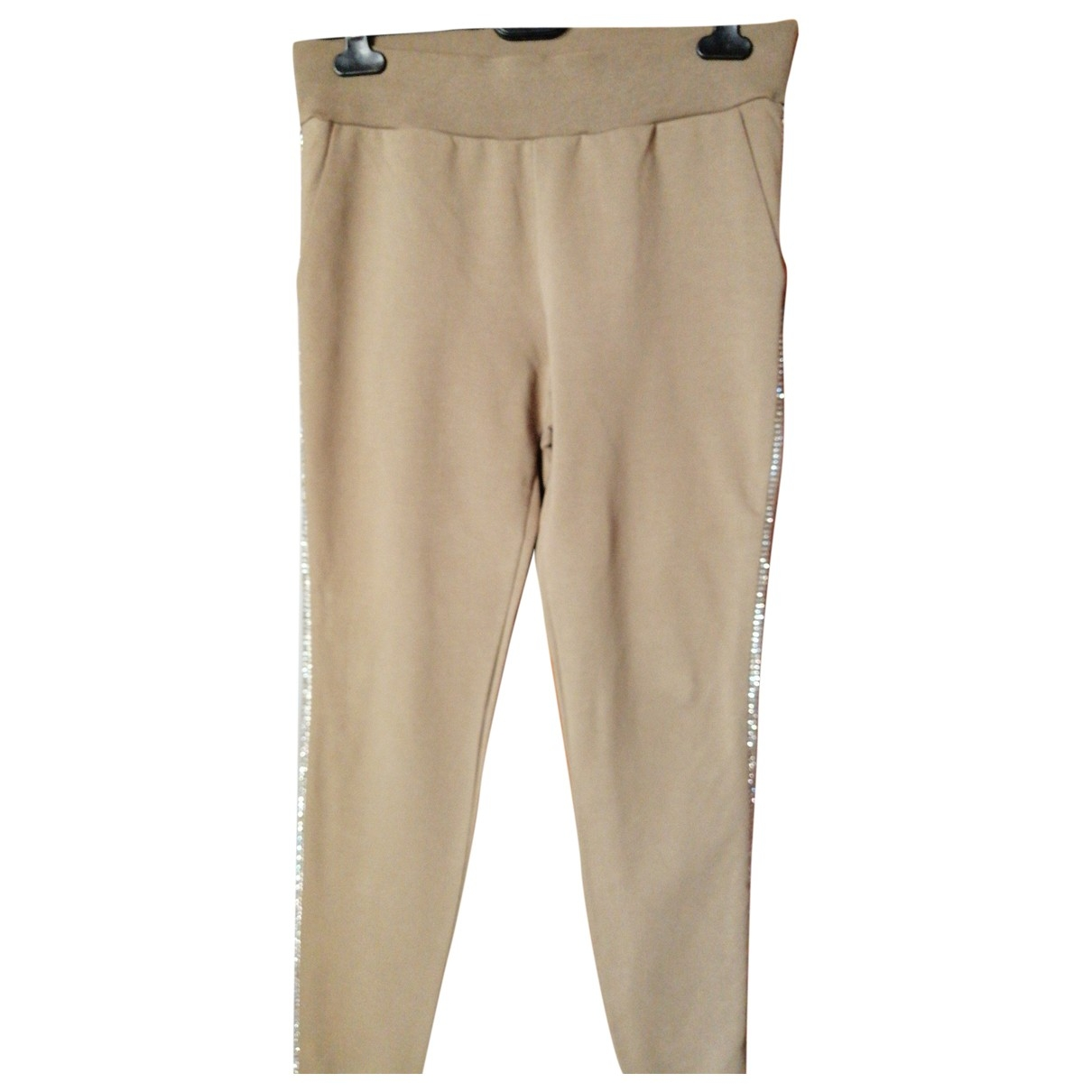 Moschino Love \N Beige Cotton Trousers for Women 44 IT