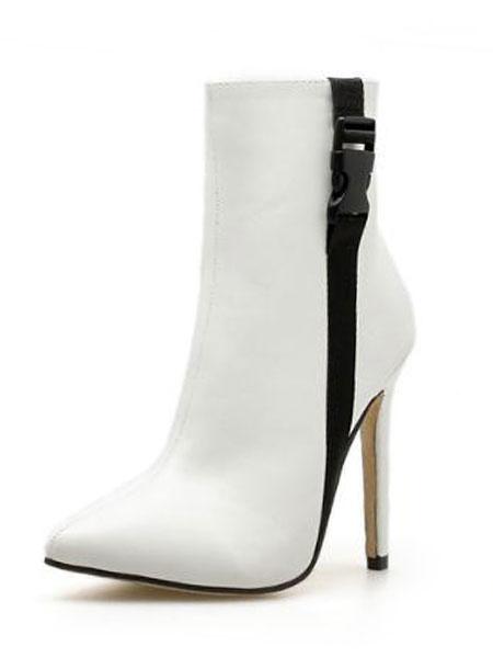 Milanoo botines mujer blanco  de tacon de stiletto de puntera puntiaguada 11cm de PU Primavera Otoño de dos tonos Cremallera estilo street wear