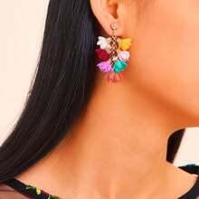 Geschichteten Blume Ohrringe 1 Paar
