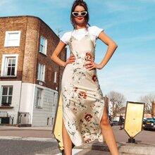 Floral Criss Cross Draped Back Cami Satin Dress
