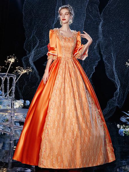 Milanoo Vestido de traje retro victoriano rococo, disfraz de Cosplay de algodon de encaje de mascarada rojo naranja Halloween