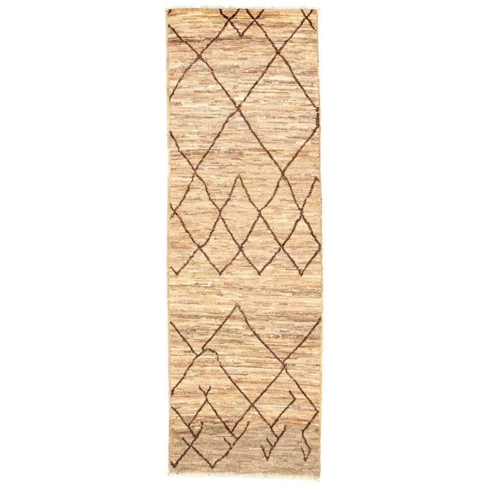 ECARPETGALLERY Hand-knotted Marrakech Tan Wool Rug - 2'10 x 8'0 (Tan - 2'10 x 8'0)