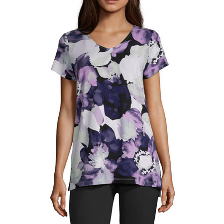 Liz Claiborne Studio-Womens V Neck Short Sleeve T-Shirt, Large , Purple
