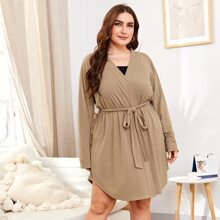 Plus Solid Curved Hem Belted Robe