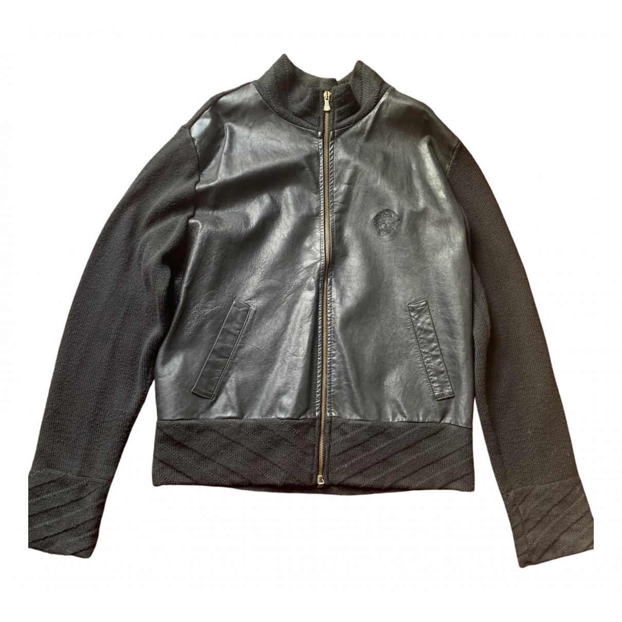 Versace \N Black Leather jacket  for Men M International