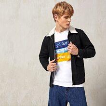 Guys Contrast Teddy Collar Flap Pocket Jacket