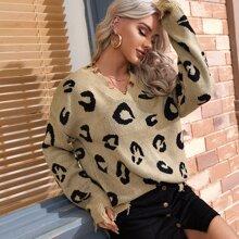 Leopard Ripped Drop Shoulder Sweater