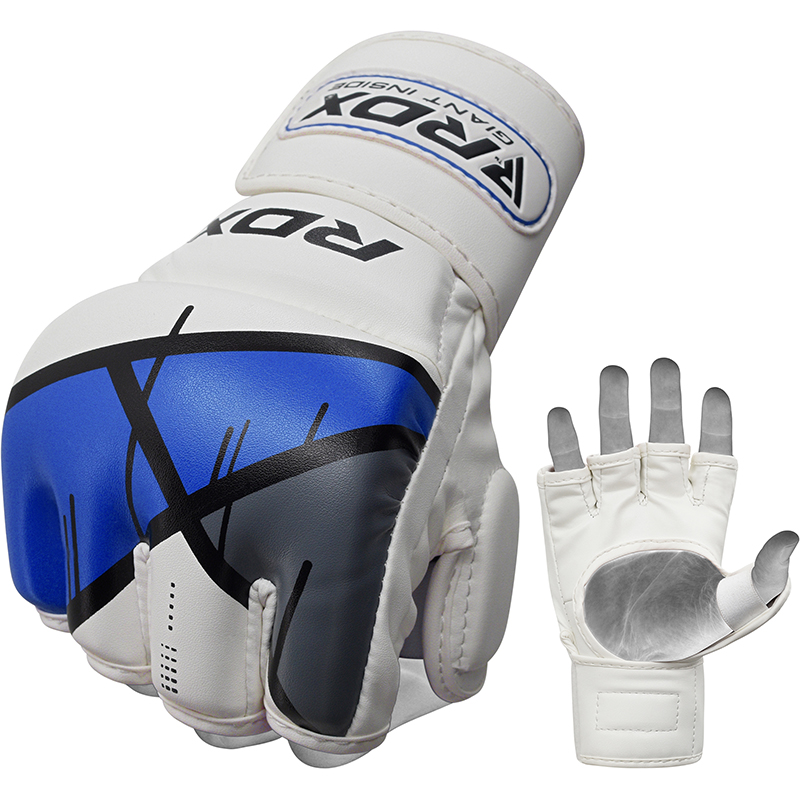 RDX T7 Grappling MMA Gloves Sparring Small Blue/White/Grey/Black