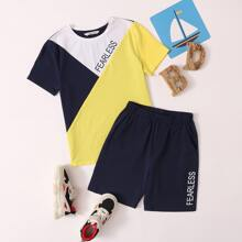 Boys Color Block Tee & Lettering Shorts Set