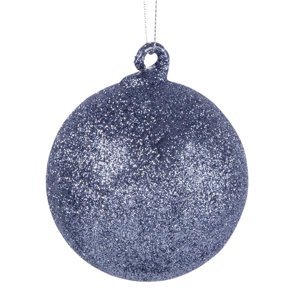 Weihnachtskugel aus Glas, silberfarben mit Glitzer
