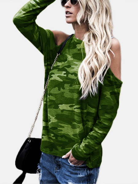 Yoins Green Camouflage Round Neck Cold Shoulder Long Sleeves T-shirt