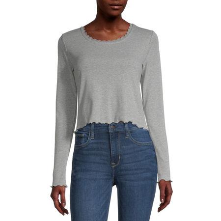 Arizona Juniors-Womens Round Neck Long Sleeve T-Shirt, X-small , Gray