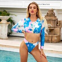 Bikini Badeanzug mit Batik und Reissverschluss vorn