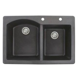 Transolid Aversa 33-in silQ Granite Drop-in Double Bowl Kitchen Sink (2 - Black)