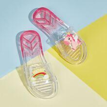 Zapatillas transparentes de niñas con estampado de unicornio