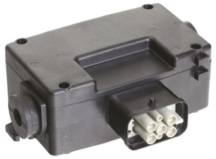 HARTING , Han Power S IP65 Black Surface Mount 6P+E Industrial Power Socket, Rated At 10.0A, 600.0 V