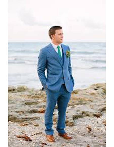 Mens Beach Wedding Attire Suit Menswear Blue 199
