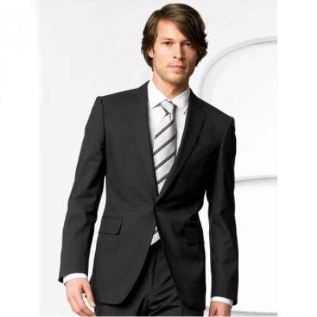 Mens Stylish One Button Black Suit