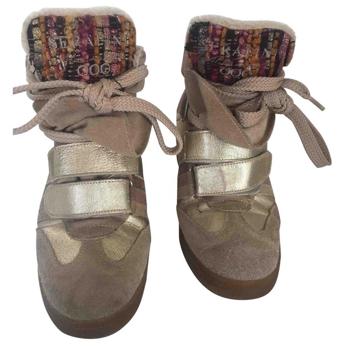 Serafini \N Sneakers in  Beige Samt