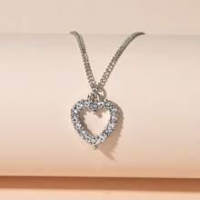 Halskette mit Strass Herzen Dekor