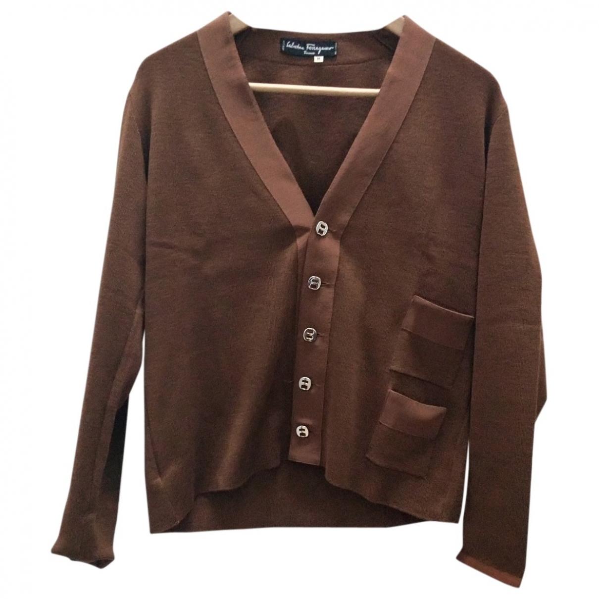 Salvatore Ferragamo - Pull   pour femme en laine - marron