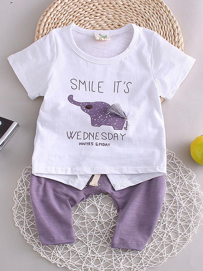 Ericdress Elephant-Print T-Shirt Plian Shorts Little Boys Set