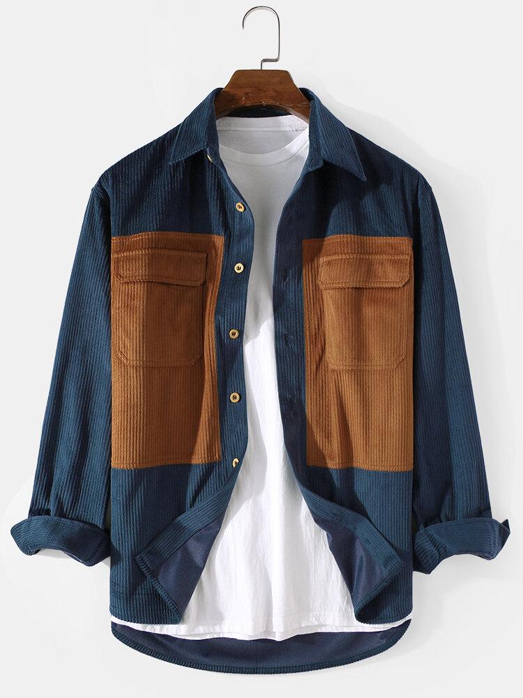 Mens Cargo Style Double Pocket Colorblock Corduroy Lapel Long Sleeve Shirts