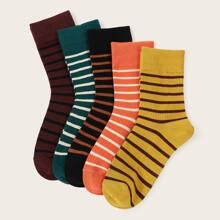 5 Paare Socken mit niedrigem Schnitt und Streifen