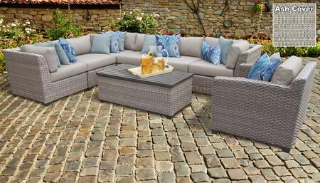 Florence Collection FLORENCE-08d-ASH 8-Piece Patio Set 08d with 3 Corner Chair   3 Armless Chair   1 Storage Coffee Table   1 Club Chair - Grey and