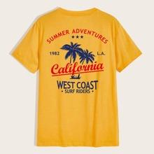T-Shirt mit Palm & Buchstaben Muster