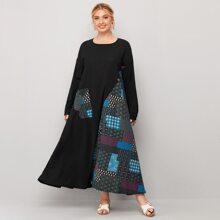Plus Patchwork Drop Shoulder Tee Dress
