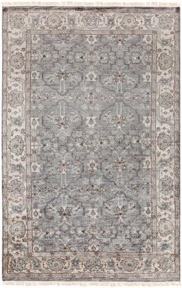 Theodora THO-3001 6' x 9' Rectangle Traditional Rugs in Medium Gray  Light Gray  Camel