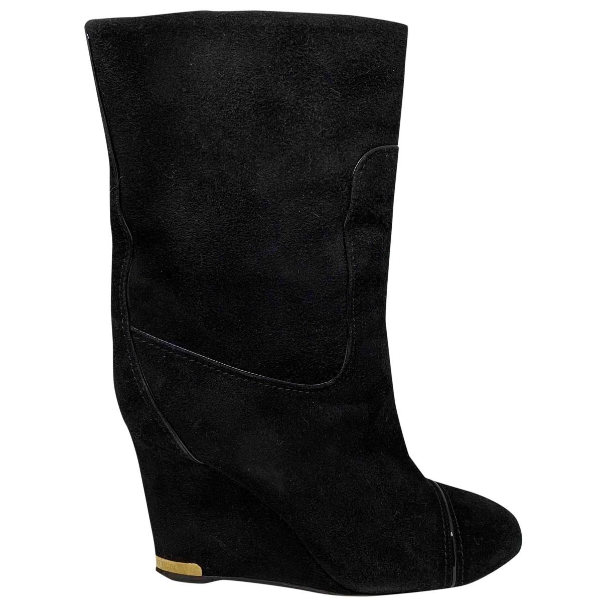 Louis Vuitton - Boots   pour femme en suede - noir