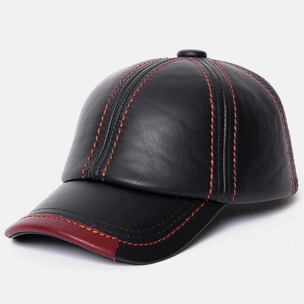 Men Vintage Genuine Leather Outdoor Baseball Cap Windproof Caps