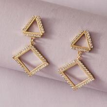 1 Paar Strass Gravur Geometrische Tropfen Ohrringe