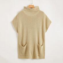 Rolled Neck Pocket Front Knit Top