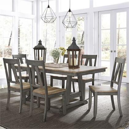 Lindsey Farm Collection 62-CD-7TRS 7PC Trestle Table Set with 6x Splat Back Side Chair and 1 Trestle Table in Gray and Sandstone
