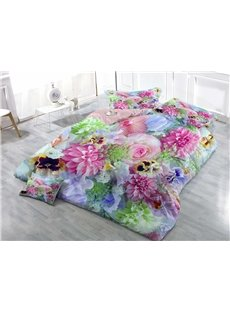 Fragrant Colorful Floral Bouquets Wear-resistant Breathable High Quality 60s Cotton 4-Piece 3D Bedding Sets