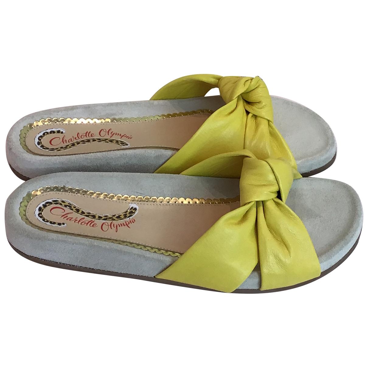 Charlotte Olympia - Sandales   pour femme en cuir - jaune