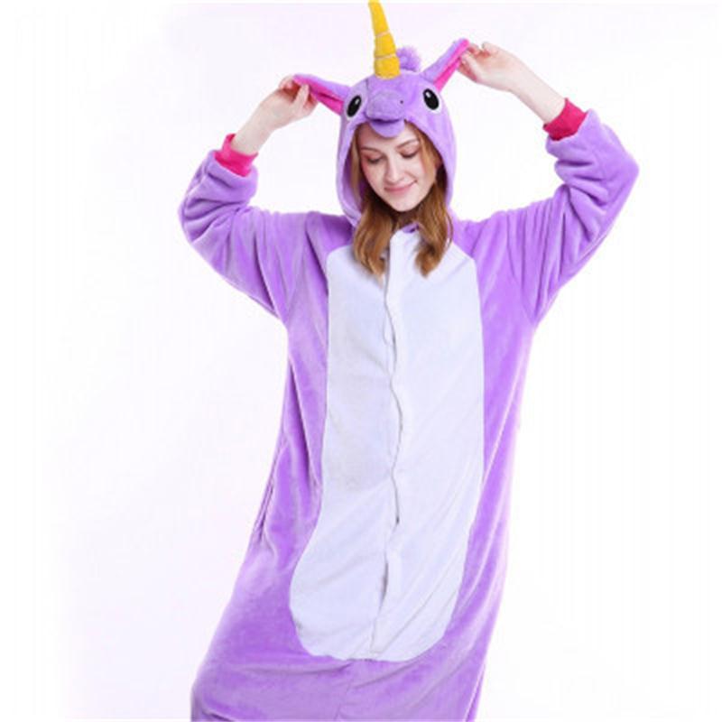 Halloween Purple Unicorn Flannel One-Piece Stretchable Pajama Jumpsuit