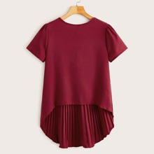 Solid Pleated High Low Hem Blouse