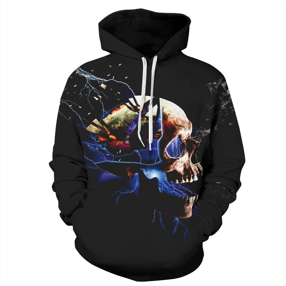 Cool Long Sleeve Skull Pattern 3D Painted Hoodie