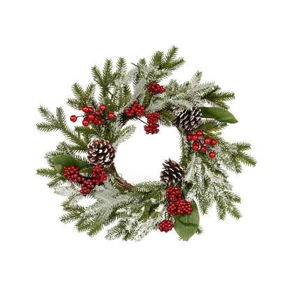 40cm Decorated PE wreath with white glitter
