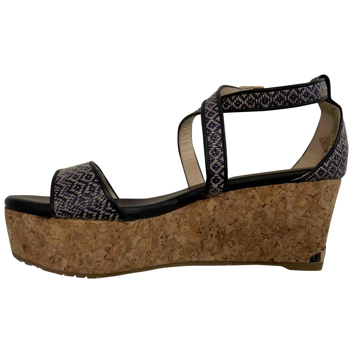 Jimmy Choo \N Navy Cloth Sandals for Women 38.5 EU
